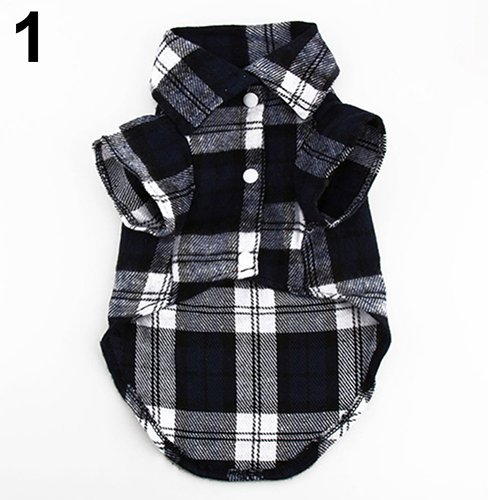 CricTeQleap Haustier-Kleidung, Kleiner Hund Plaid Shirt Revers Mantel -