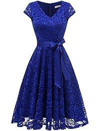 Berylove Damen V-Ausschnitt Kurz Brautjungfer Kleid Cocktail Party Floral Kleid BLP7006RoyalBlueM
