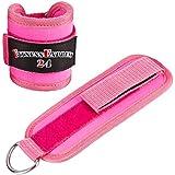 1 Paar Lady Fußschlaufen Pink m. Ringöse und verstellb. Klettverschluss für Kabelzug Übungen