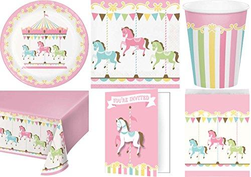 t Pferde Karussell Kindergeburtstag Geburtstag Party Fete Feier 8 Teller, 8 Becher, 16 Servietten, 8 Einladungskarten, 10 Papiertüten, Tischdecke (Party Großhandel)