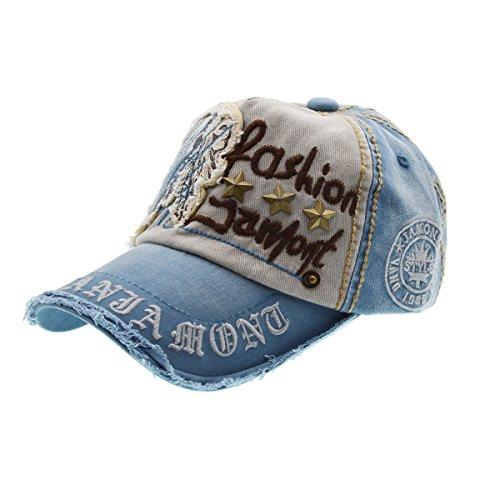 Lettera Patch Rivetti Casual Baseball Cotton Cap & cappello alla moda all'aperto per maschi e blu Femminile-denim, iParaAiluRy