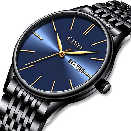 c446d005a7da CIVO Relojes para Hombre Acero Inoxidable Impermeable Negro Reloj de  Pulsera de Lujo Moda Deportivo Caballero