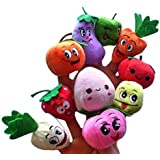 Acekid 10 Pcs Finger Puppets Fruits And Vegetables Cute Cartoon Simulation Soft Children Early Development Toys Novelty Gag Toys For Kids
