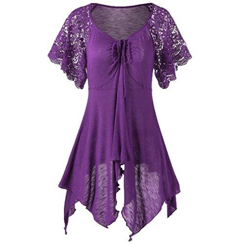 IMJONO Damen stehkragenbluse Shirtbluse schlupfblusen flanellbluse kurzarmblusen Baumwollbluse blusenshirts Jeansbluse Streifenbluse chiffonblusen Wickelbluse (Lila,EU-40/CN-XL) (Kostüm Swat Box)