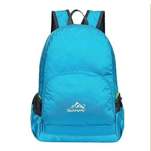 LMRYJQ Falten Wasserdichte Nylon Tasche Umhängetasche der Männer und Frauen im Freien Reisetasche Wasserdicht Dauerhaft Schulterpackung (Blue)