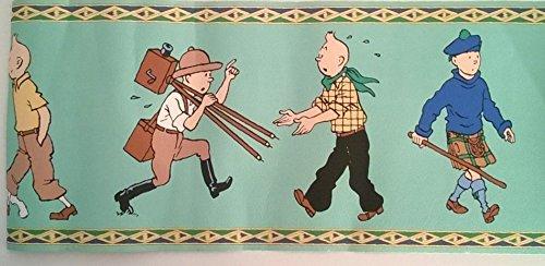 Hergé - Tintin - frise (motif de tapisserie) sur fond vert d'eau - séquence complète de 5 personnages (TIntin cosmonaute, Tintin et Milou, Tintin photographe, Tintin cow-boy, Tintin en kilt)
