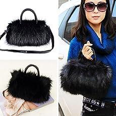 Zibuyu Lady Girl Pretty Cute Faux Rabbit Fur Handbag Shoulder Messenger Bag Tote