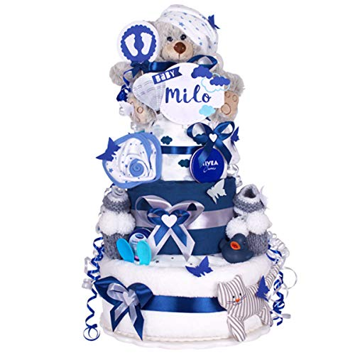 MomsStory - Tarta de pañales, niño o niño, regalo para nacimiento, bautizo, babero de 3 pisos azul...