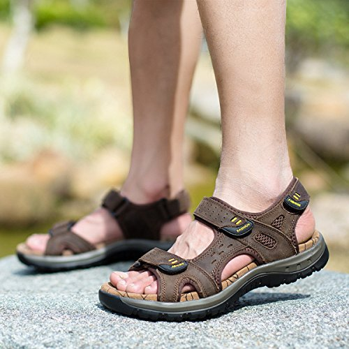 LXXAMens Estate Spiaggia Il Peso Leggero Scarpe Da Esterno Velcro Vera Pelle Sandali Scarpe Da Tennis Di Sport Atletici Brown2