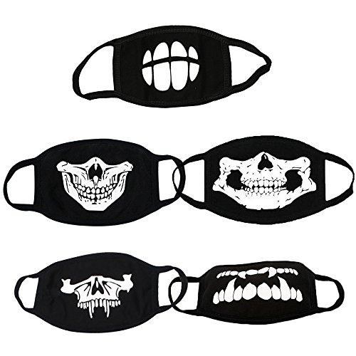 Skitic Leuchtend Mundschutz Gesicht Maske Mundmaske Schwarz Unisex Baumwolle Schädel Skelett Anti-Staub Gesichtsmaske (5 stücke)
