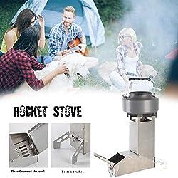 hinffinity Poêle À Bois Rocket Stove Camping Biomasse avec Pot Et Grill pour La Randonnée, La Randonnée, La RV Et La Survie, Poêle À Bois Auto-Alimentation