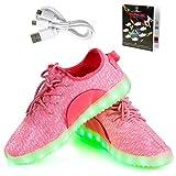LED Schuhe,Shinmax Leuchtende Sneakers Unisex 7 Farbe USB Aufladen Leutchtschuhe Sport LED Kinderschuhe für Unisex-Erwachsene Herren Damen und Jungen Mädchen mit CE-Zertifikat (37, Rosa)