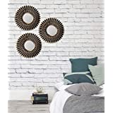 Art Street -Set of 3 Decorative Round Black Wall Mirror for Living Room (10 x 10 Inchs)