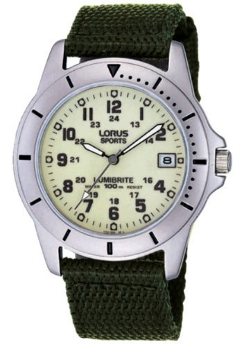 Lorus 100M Water Resist Gents Military Style Canvas Strap Lumibrite Watch