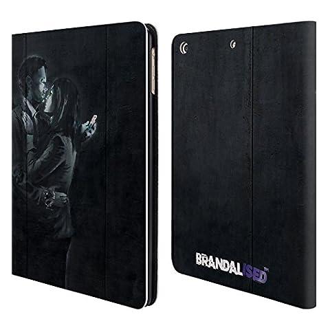 Officiel Brandalised Amants De Téléphone Portable Banksy Étiquettes De La Rue D'art Étui Coque De Livre En Cuir Pour Apple iPad Air