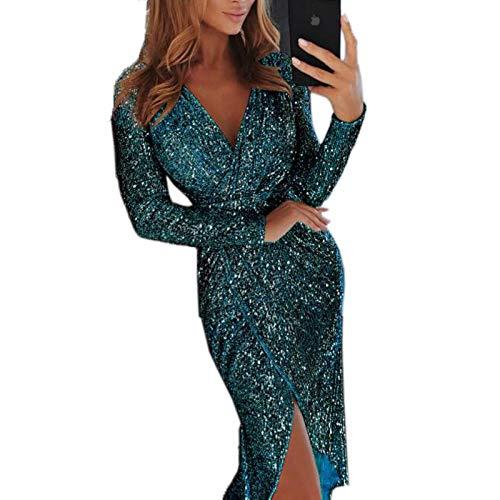 SINOTECHQIN Sexy Pailletten-Kleider für Damen - Bodycon V-Ausschnitt Party-Minikleid Clubwear Size XXL (Green)