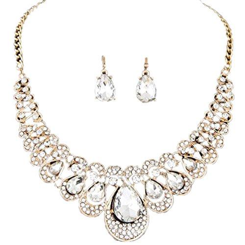 (Ba Zha HEI Frau Metall Flash-Bohren Juwel Halsband Halskette Ohrring einstellen Frauen gemischte Art Bohemia Farbe Bib Kette Halskette Ohrringe Schmuck für Frauen Mädchen (Weiß))