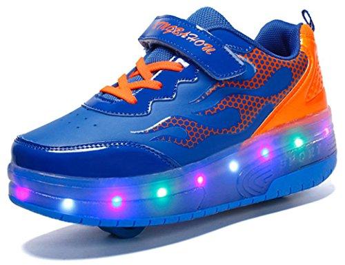 XBH Unisex LED Licht 7 Farbe Farbwechsel Sneaker Skate Shoes Schuhe Rollen Verstellbare Schlittschuhe Skateboard Lnline Sneaker Einzelnes Rad Jungen Mädchen Kinder
