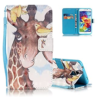 Aeeque Phone Case for Samsung Galaxy S5/S5 Neo, Cute White Animal Series 3D Design Flip Credit Pouch Card Slots Magnetic Durable PU Leather Wallet Protection Cover Holster - Leisurely Giraffe