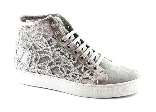 Frau 40g5 Nuage Gris Chaussures Femme Baskets Broderie Lacets Haute Gris
