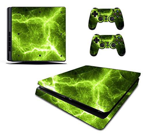 The Grafix studio Green Electric Sticker/Skin PS4Slim/Sony Playstation 4Slim Konsole und Fernbedienung Controller Aufkleber, pss14