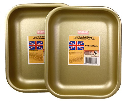 Lets Cook Röster 27,9 x 22,9 cm Set, Twin Pack, British, mit Gold GlideX nicht-Stick TM