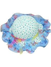 Sombrero de verano de sol de la muchachade playa Sombrero de paja Sombrero de protección solar Onda de encaje Luz Azul
