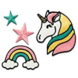 Aufnäher/Bügelbild - Set Einhorn Stern Regenbogen - bunt - verschiedene Größen - by catch-the-patch Patch Aufbügler Applikationen zum aufbügeln Applikation Patches Flicken