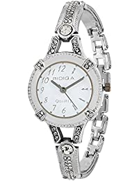 RIDIQA Analog Crystal Studded WHITE Dial Stainless Steel Wrist Watch For_Girls, Women-RD-075