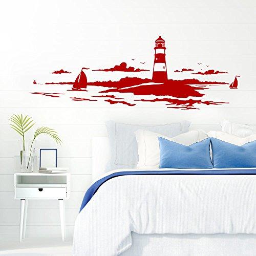 Grandora Skyline Küstenlandschaft Leuchtturm I rot 120 x 42 cm I Bad Wohnzimmer Schlafzimmer Aufkleber Wandaufkleber Wandsticker Modern W974