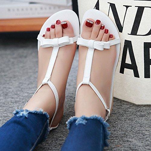 pattini aperti aperti del piede di modo femminile di bowknot di modo femminile 32-43 White