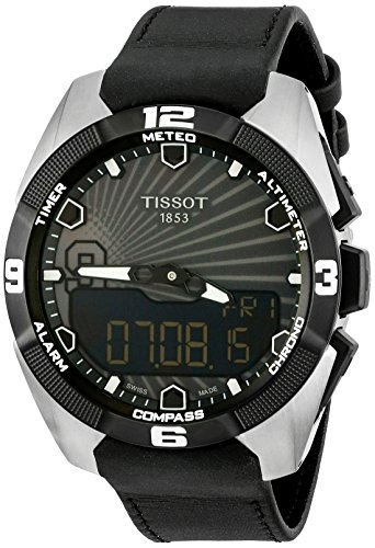 Tissot Men's Black Leather Band Titanium Case Quartz Date Watch T0914204606100