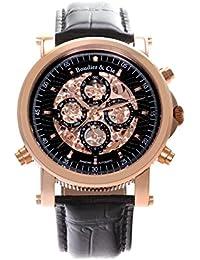 Boudier & Cie SK14H034 - Reloj Esqueleto Automatico Analogico para hombre, Esfera negra, Carcasa dorada, Correa de Cuero negro, Calendario