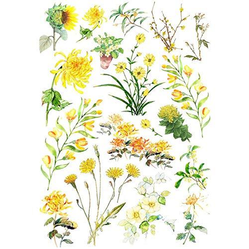 BAWANGLONG 2 STÜCKE Frühlingsblume Pflanzen DIY Dekor Sammelalbum Kugel Journal Schreibwaren Aufkleber Planer Post It Patchwork Bastelbedarf Candy-bar-handys