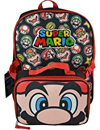Super Mario School Backpack and Lunch Kit for Kids - 16 Inches