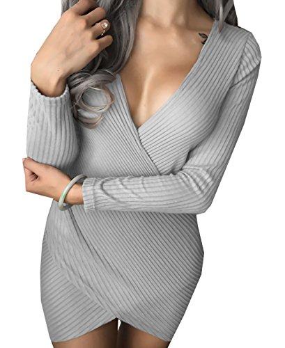 WOZNLOYE Frühling Herbst Damen Unregelmäßige Minikleid Sexy Tiefer V-Ausschnitt Langarmig Kleider...