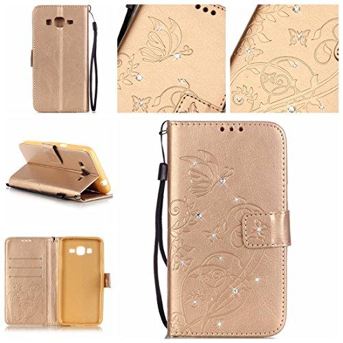 Nancen Samsung Galaxy Grand Prime SM-G530H G531F (5 pouces) coque , PU Cuir Portefeuille Etui Housse Case Cover , carte de crédit Fentes pour , L'utilisation de la technologie de pointe , gaufrage , cristal de diamant - Fleur - Butterfly , idéal pour protéger votre téléphone ,
