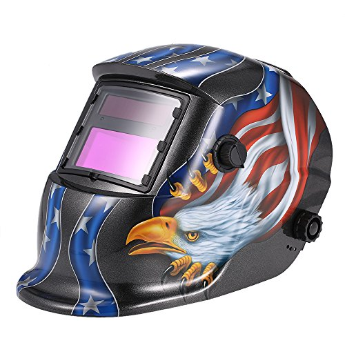 KKmoon Masque de Soudure Automatique UV/IR Protection jusqu'à 16 DIN à l'arc Mig Tig Broyage Aigle (Noir)