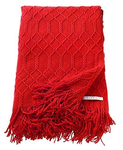 ESPRIT Weave Plaid Decke Tagesdecke Kuscheldecke Wolldecke Couchdecke Sofadecke, Polyacryl, Rot, 200 x 140 cm - Rot Plaid Lounge