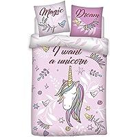 AYMAX S.P.R.L Parure de lit Licorne - Housse de couette (140x200) + Taie (65x65) I want a Unicorn