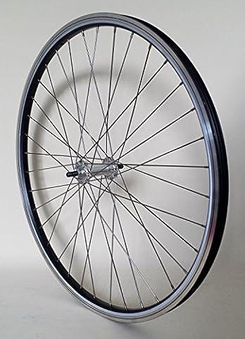 28 Zoll Fahrrad Laufrad Vorderrad REFLEX Hohlkammerfelge schwarz mit Alu-Vollachsnabe für V-Brakes / Felgenbremse