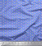 Soimoi Blau Viskose Chiffon Stoff Multicolor kleines Motiv