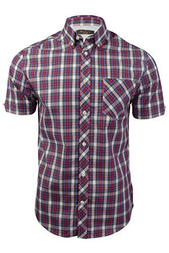 mens-tartan-check-shirt-by-ben-sherman-short-sleeved-red-l