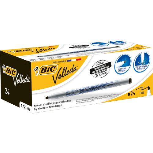 bic-velleda-1721-caja-de-24-marcadores-de-pizarra-blanca-color-negra
