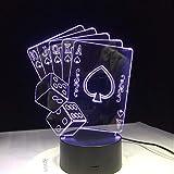 Acryl Nachtlicht Würfel Poker Spielkarte Kreative 3D Led Usb Lampe Magier Dekoration 7 Farben Ändern Nachtlicht Weihnachten Urlaub Party Club Deco
