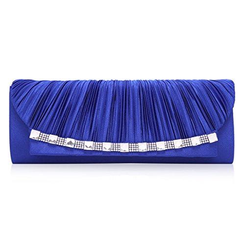 Curva Damara gigante foreverde piega Satin grazia in modo elegante la sera per catene borsa a tracolla, Blu (blu), Large Blu (blu)
