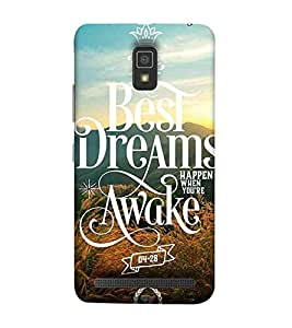 Lenovo A6600 the best dreams happen when you're awake, good quotes Designer Printed High Quality Smooth hard plastic Protective Mobile Case Back Pouch Cover by Paresha