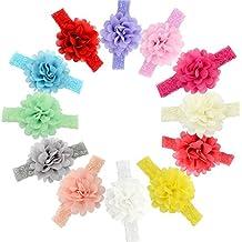 GBATERI 12pcs Bebé Chicas Flor de gasa Banda de la cabeza Soft Elastic Lace Banda para