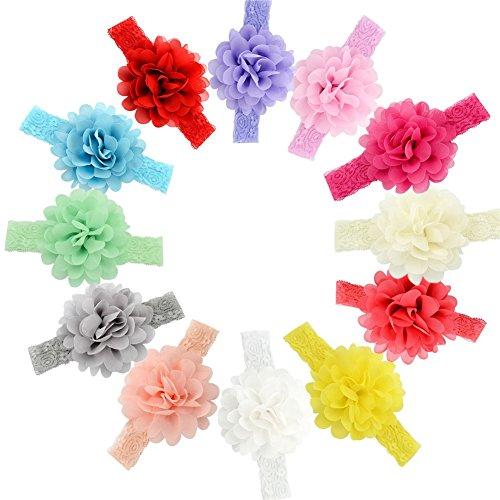 GBATERI 12pcs Baby-Chiffon- Blumen-Haar-Spitze Stirnbänder Weiche elastische Spitze Haarband Für Kleinkind-Säuglingsbaby-Haar-Haar-Zusätze (Mehrfarben)