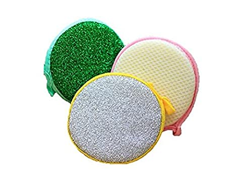 5PCS Double Side Round Household Metallic Scrub Sponge Dish Pad Cleaner Pot Cleaner Kitchen Tool